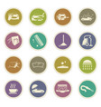 car wash shower service icons set vector image vector image