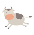 cartoon cute cow emblem for printing running vector image vector image