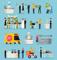 catering orthogonal flat icons set vector image vector image