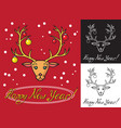 christmas deer and tree toys vector image