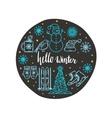 Circle Christmas greeting card design vector image