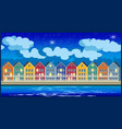 Colorful houses at night vector image