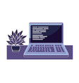 computer code programming technology with plants vector image