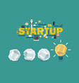 crumpled paper balls and light bulb idea startup vector image vector image