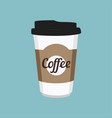 disposable coffee cup icon on blue background vector image vector image