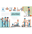 flat plumbing service composition vector image