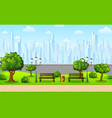green city park with town buildings vector image vector image
