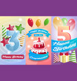 happy birthday kids postcard set vector image vector image