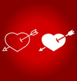 heart pierced with arrow line and glyph icon vector image vector image