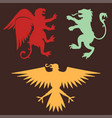 heraldic lion royal crest medieval knight eagle vector image vector image
