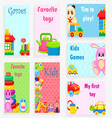 kids games and favorite toys set vector image vector image