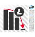 litecoin falling acceleration chart flat icon with vector image vector image