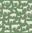 livestock seamless pattern farm animals vector image