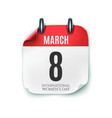 march 8 calendar icon isolated on white background vector image