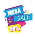 mega sale discounts poster memphis style vector image vector image