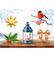 merry christmas realistic symbols toys set vector image vector image