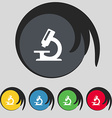 microscope icon sign Symbol on five colored vector image