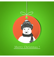 modern flat card with doodle bear on Christmas vector image