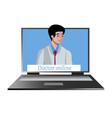 online doctor internet computer health service vector image vector image