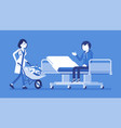 patient and hospital doctor with cart full of vector image vector image