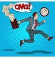 Pop Art Businessman with Briefcase Running to Work vector image vector image
