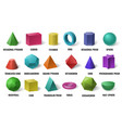 realistic 3d color basic shapes solid colored vector image