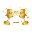 realistic detailed 3d two gold cups win win vector image