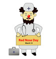 red nose day doctor with a red nose vector image vector image