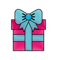 scribble cute fuchsia gift cartoon vector image vector image