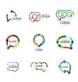 Set of flat linear design speech cloud logos Talk vector image vector image
