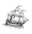 ship drawn sketch vintage vector image vector image