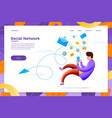 social network man flowing in content vector image