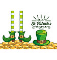 st patrick legs with boots and hat with gold coins vector image vector image
