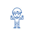 strong boy hands up line icon concept strong boy vector image
