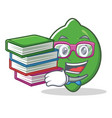 student with book lime mascot cartoon style vector image vector image