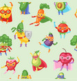 superhero fruit and vegetables seamless vector image