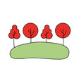 trees forest meadow on white background vector image