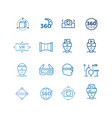 virtual reality line icons and device collection vector image vector image