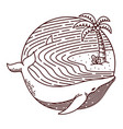 whale and beach line vector image vector image