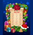 year calendar paper scroll with christmas garland vector image vector image