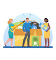 young male and female characters are sharing a box vector image