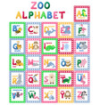 Zoo alphabet animal letters cartoon cute vector image