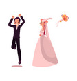 groom and bride character set isolated vector image