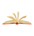 red covered opened book with pages fluttering vector image