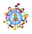 Christmas kids background Children in planet vector image