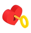 Heart-lock and key isometric 3d icon vector image
