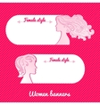 Two beautiful female romantic banner vector image
