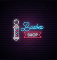 barbershop neon sign retro hairdressing emblem vector image vector image