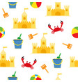 beach summer seamless pattern with sand castle vector image vector image