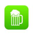 beer mug icon digital green vector image vector image